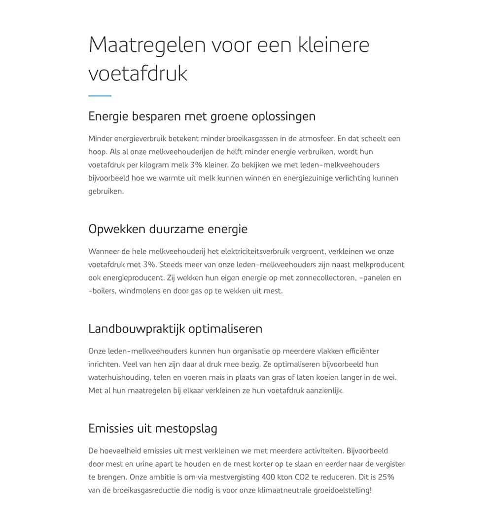 Teksten van Nina Vossen voor de website van FrieslandCampina