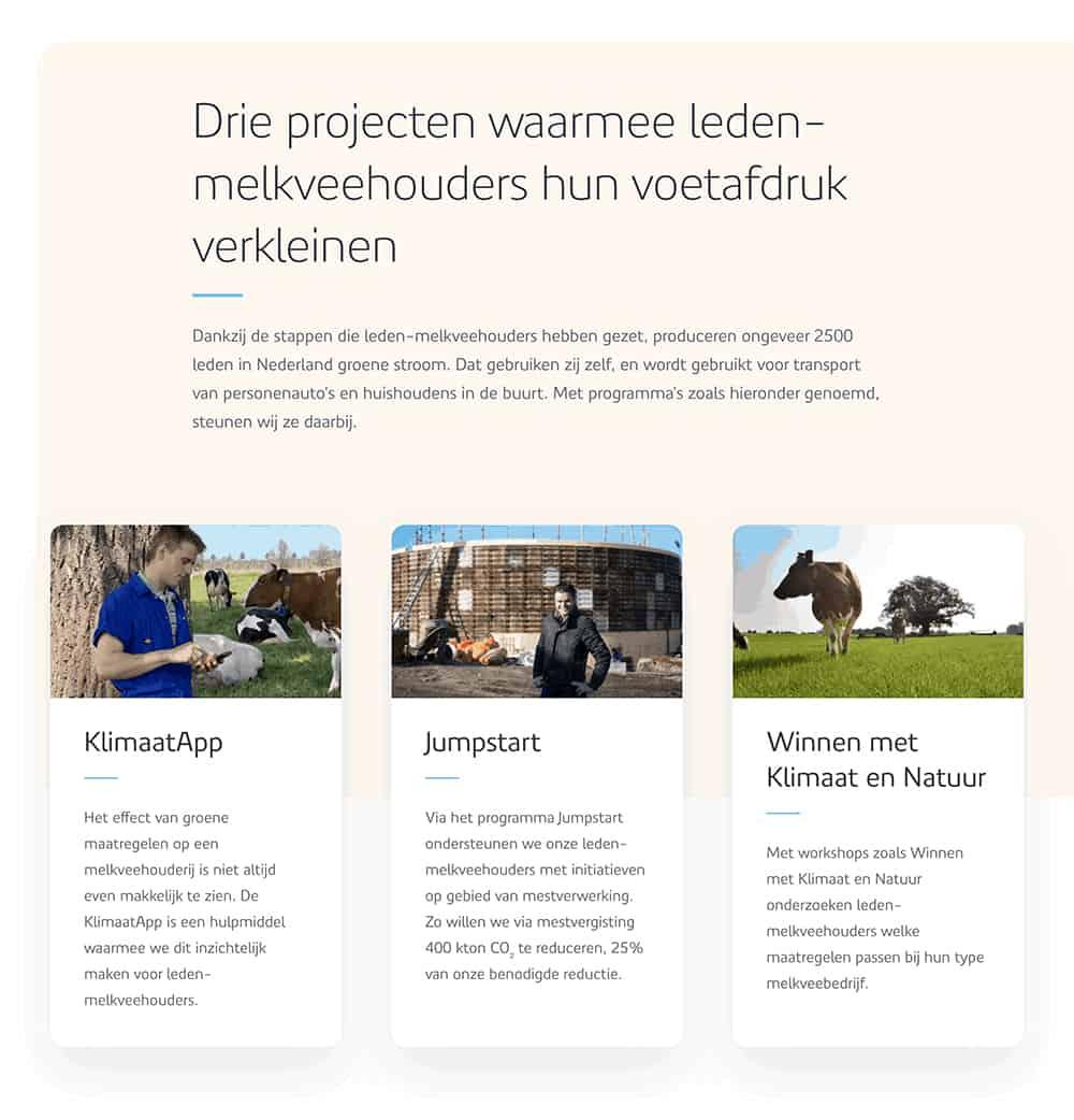Teksten die Nina Vossen heeft geschreven voor FrieslandCampina