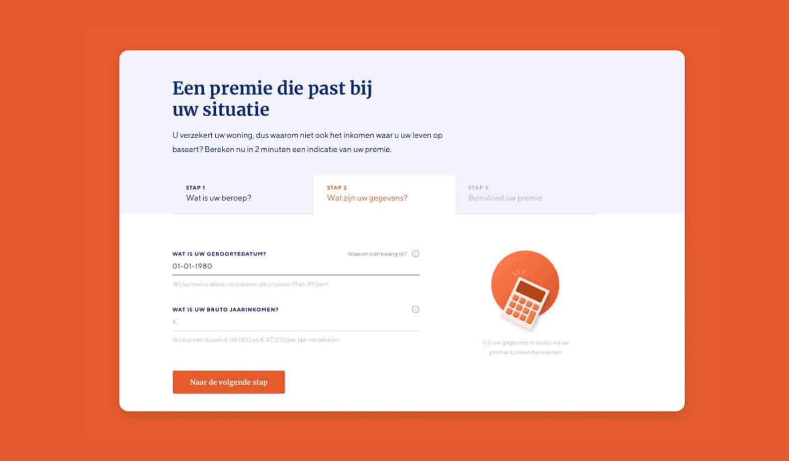 Copy geschreven door Nina Vossen voor Movirs tool die kosten voor de premie berekent
