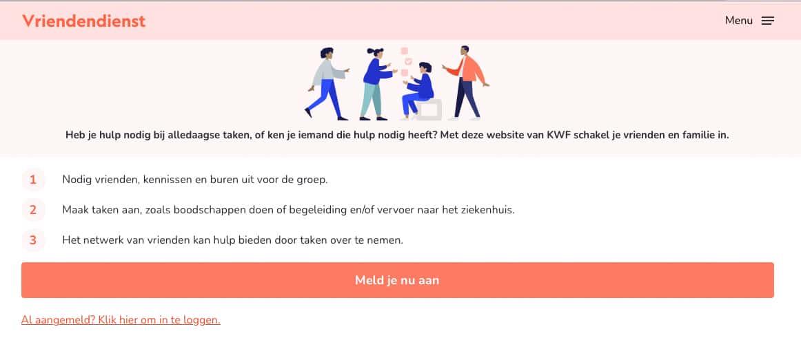 Microcopy die NIna Vossen heeft geschreven voor KWF Vriendendienst